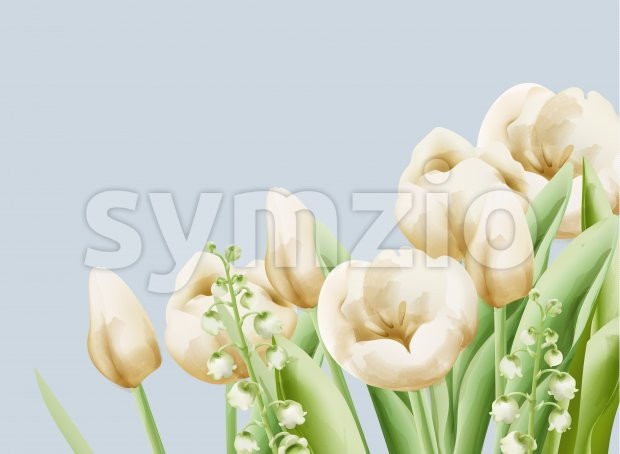 Cream buttercup and bell flowers with green leaves and stem. Watercolor Vector Stock Vector