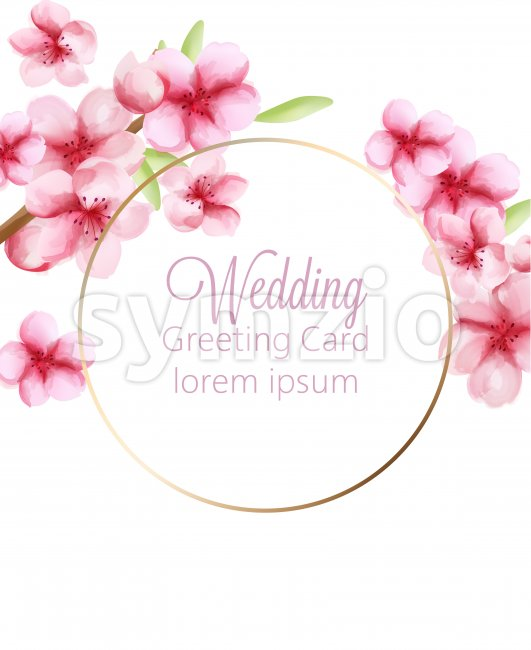 Wedding greeting card with watercolor cherry blossoms spring flowers on stem with green leaves. Vector Stock Vector