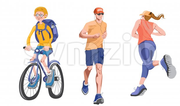 Set of realistic characters doing sport activities outdoors. Biking and running with headphones. Vector Stock Vector