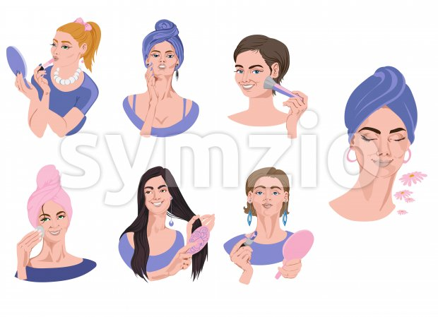 Set of woman portraits in blue clothes doing makeup. Brushing hair, wearing lipstick, powdering face. Vector Stock Vector