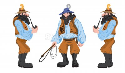 Cartoon mystic man with beard and hunting crop smoking a long pipe. Vector set Stock Vector