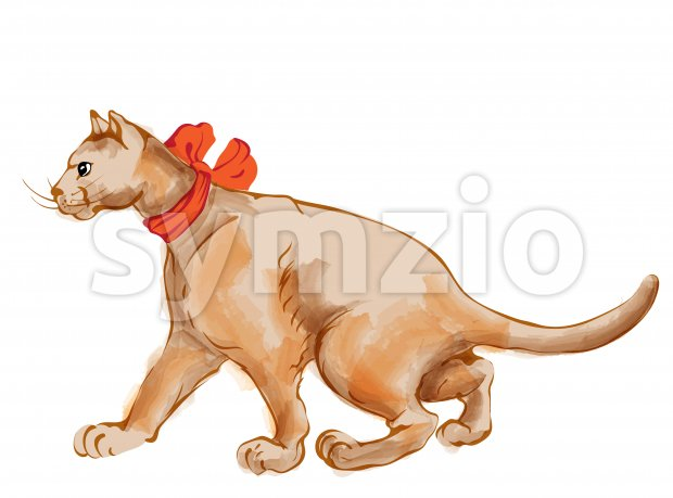 Watercolor ginger cat with red bow tie walking to the side. Vector Stock Vector