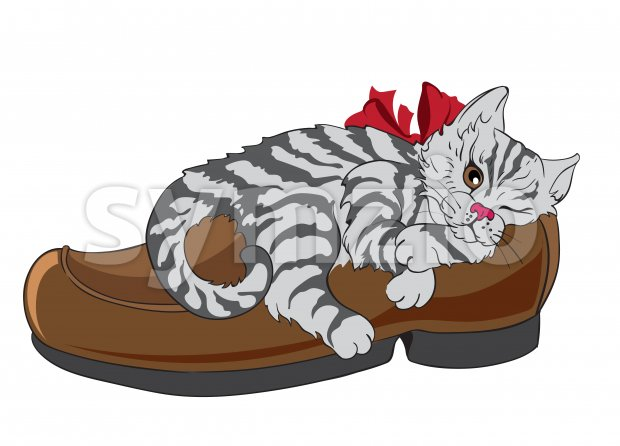 Little fluffy zebra cat with bow tie sleeping in a shoe. Vector Stock Vector