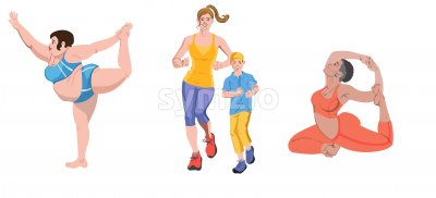 Set of people doing exercises. Fat woman making ballet poses in shorts, mom and little boy jogging, afro girl practicing yoga. Colorful clothes. Stock Vector