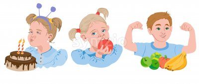 Set of cartoon kids eating fruits, vegetables and cake. Blonde girl eating an apple, boy showing his biceps, brown haired kid blowing out candles. Stock Vector
