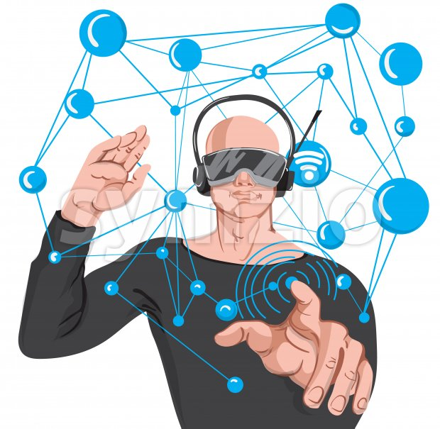 Man using advance technology VR glasses. Cartoon bald man in black sunglasses and headphones making wireless internet connection Stock Vector