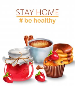 Cup of coffee with cinnamon, pancakes with syrup, raspberry jam and chocolate chip cupcake with a strawberry on top. Motivation to stay home and be Stock Vector