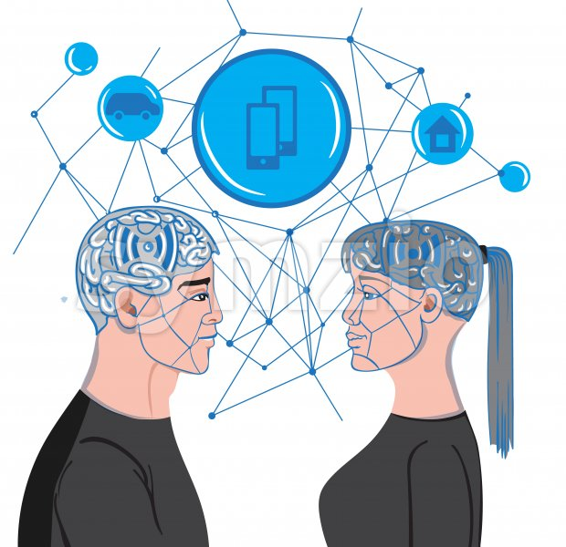 Man and woman brains making virtual mesh connections while looking at each others. Vector Stock Vector