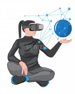 Woman in virtual reality headset creating a network in her palm. Vector Stock Vector