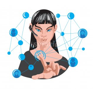 Woman making internet connection around her using one finger. 5G network. Wireless headset. Vector Stock Vector