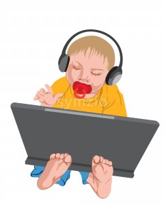 Toddler with headphones on his head playing with the laptop. Vector Stock Vector