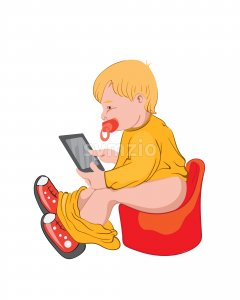 Toddler playing in tablet while sitting on potty. Colorful clothes. Vector Stock Vector