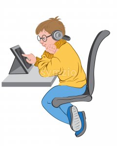 Little boy with glasses and headphones plays in tablet while sitting at his desk. Vector Stock Vector