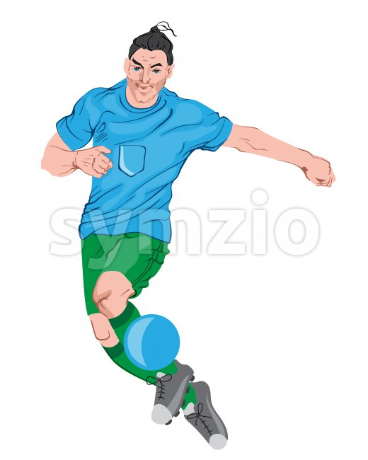 Young man playing football. Colorful clothes and boots. Vector Stock Vector