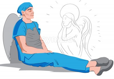 Medic with wings resting on the floor while an angel looks at him. Corona Virus idea. Vector Stock Vector