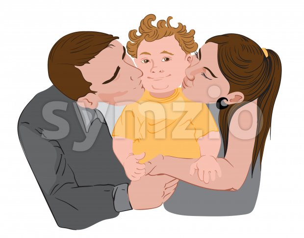 Mother and father are kissing their little kid on his cheeks. Vector Stock Vector