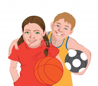 Two kids in sport clothes holding balls. Football, basketball. Vector Stock Vector