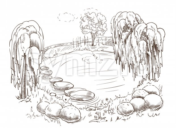 Beautiful drawn landscape of a lake surrounded by trees, rocks and bushes. Vector Stock Vector