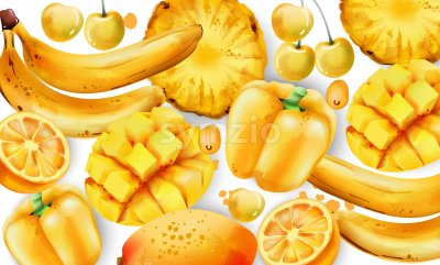 Composition of yellow fruits and vegetables. Mango, bell pepper, white cherry, pineapple, bananas, lemon Vector Stock Vector