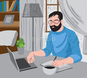 Bearded man working at the laptop and writing down some ideas while enjoying a cup of coffee.Vector Stock Vector