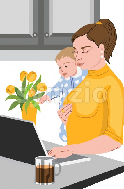 Mother with her baby in her hands working at the laptop, near a vase full with tulips, and drinking coffee. ...