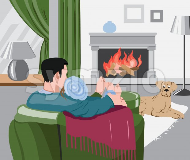 Man and woman peacefully watching the wood burning in the fireplace hugging each other, while their dog is laying on the carpet. Vector Stock Vector