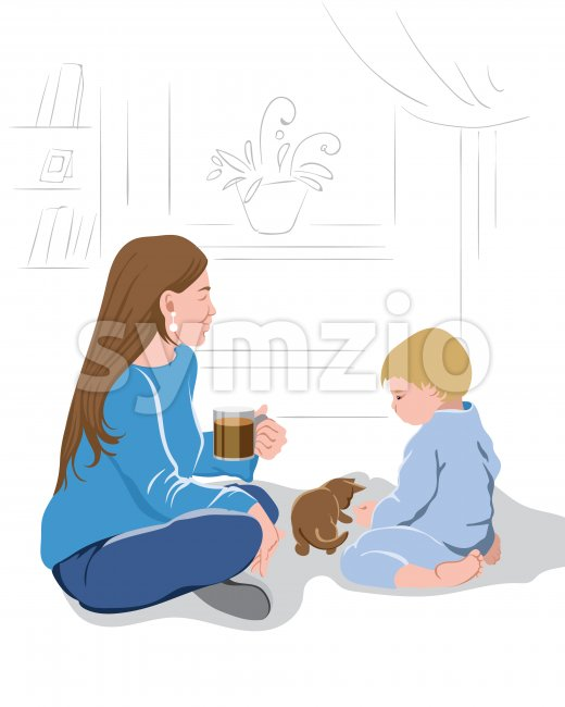 Mother peacefully watching her kid play with a little kitten while drinking a cup of coffee.Vector