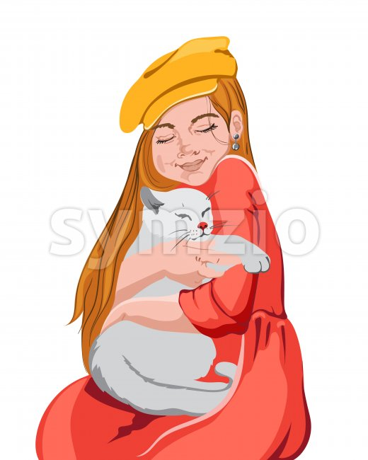 Young girl in colorful red and yellow clothes cuddling with a white cat. Vector