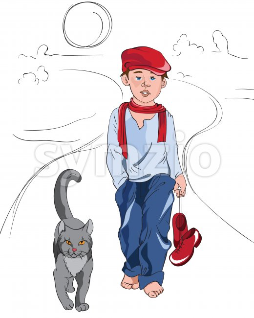 Little cartoon boy with red and blue clothes walking on a path with cat. Vector Stock Vector