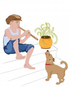 Young boy sitting on stairs and singing on pipe with his dog. Vector Stock Vector
