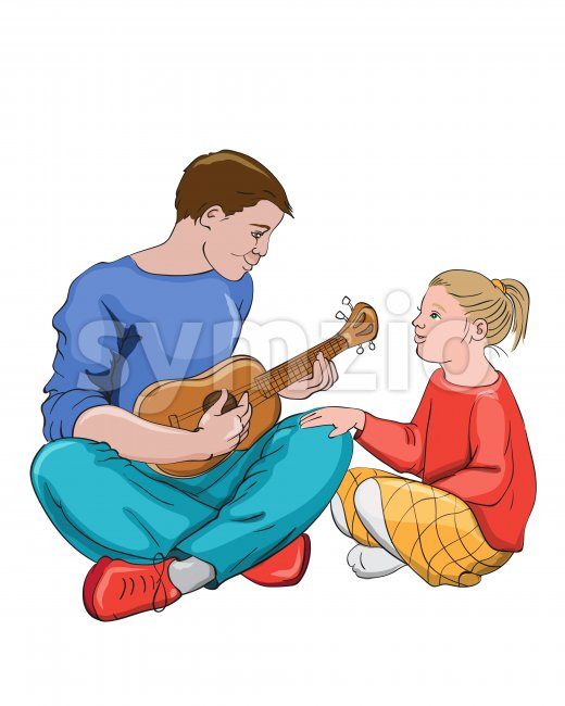 Father playing guitar with his daughter. Colorful clothes. Vector Stock Vector