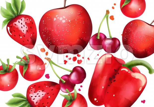 Composition with red fruits and vegetables. Cherry, strawberry, pepper. Vector Stock Vector