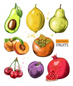 Composition with watercolor hand drawn fruits. Pomegranate, avocado, quince, pears, peaches, cherry, pomegranate. Vector Stock Vector