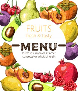 Fresh and tasty fruits menu template with place for text. Avocado, cherry, peaches, pomegranate, orange. Vector Stock Vector