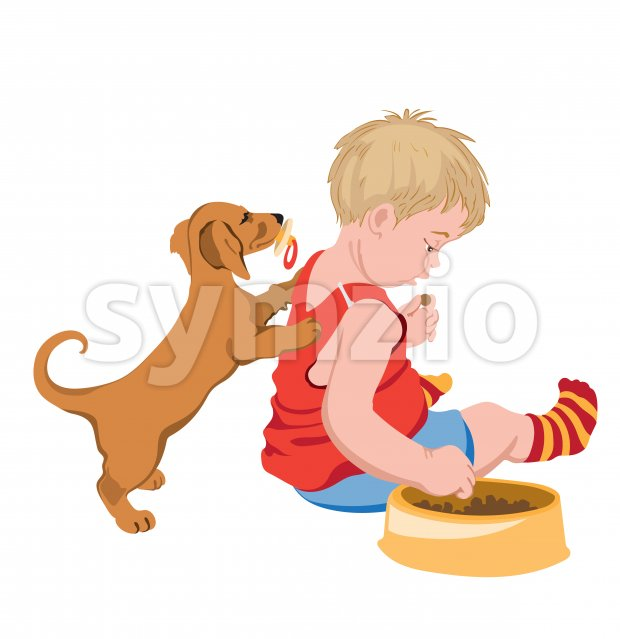 Dog with pacifier in mouth trying to play with a kid that is stealing his food. Vector