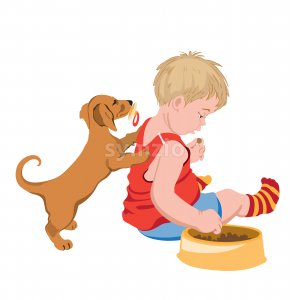 Dog with pacifier in mouth trying to play with a kid that is stealing his food. Vector Stock Vector