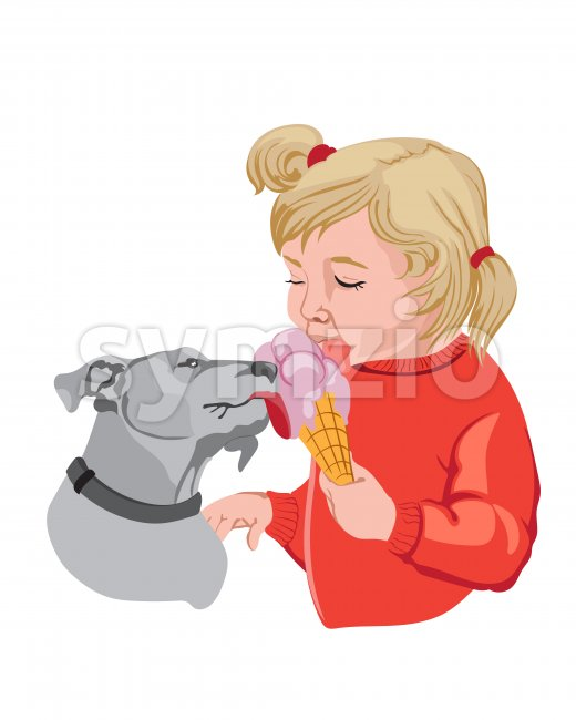 Blonde kid in red sweater eating ice cream with her dog. Vector Stock Vector