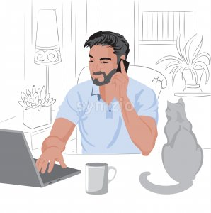 Caucasian man with beard and dark hair working from home on laptop. Having a phone call. Cat and coffee on table. Vector Stock Vector