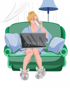 Woman working from home on a laptop. Cozy environment with rabbit slippers and sofa with pillows Stock Vector