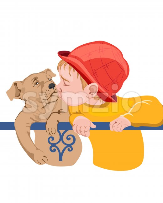 Young boy kid kissing a dog. Colorful red and yellow clothes Stock Vector