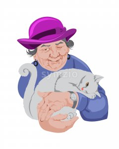 Old senior woman holding a cat. Blue sweater and pink hat. Vector Stock Vector