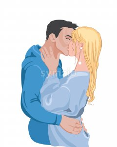 Happy young couple with colorful blue clothes preparing to kiss. Vector Stock Vector
