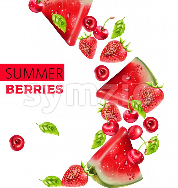 Summer berries composition with watermelon, cherry and strawberry. Place for text. Vector Stock Vector