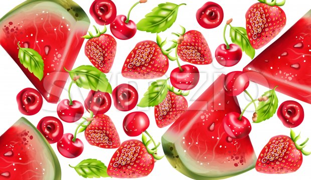 Summer berries composition with watermelon, cherry and strawberry. Vector