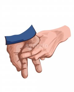Two hands holding each other. Line art. Encouragement idea. Vector Stock Vector