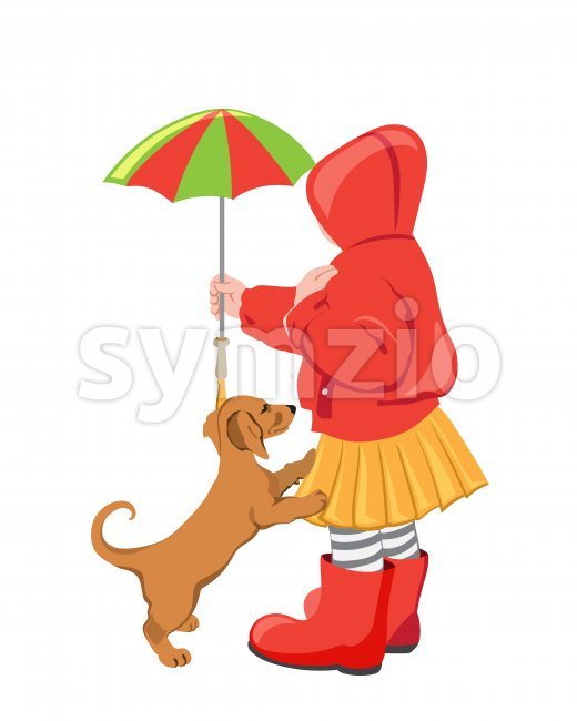 Kid in colorful red and yellow clothes playing with a cat outdoors. Holding umbrella. Vector