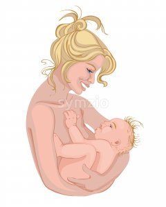 Mother holding her baby. Colorful drawing. Bare skin. Vector Stock Vector