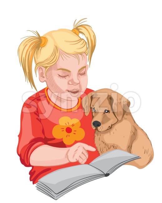 Little girl and a puppy reading a book. Colorful. Blonde hair. Vector Stock Vector