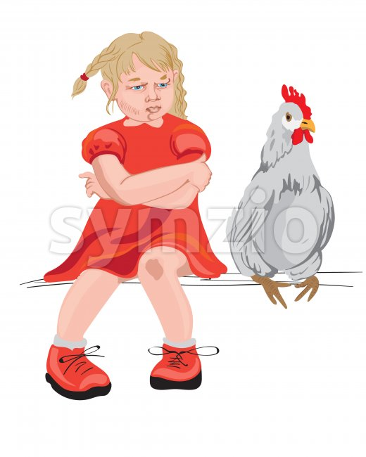 Little girl and a chicken sitting on a bench. Red clothes. Vector Stock Vector