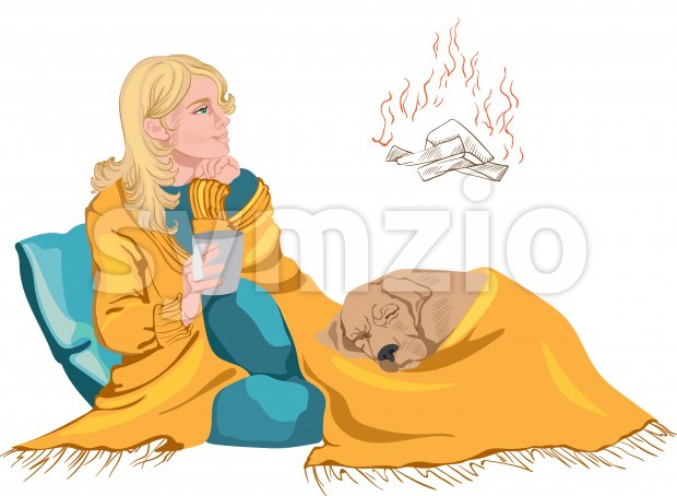 Woman and a dog under a blanket relaxing by a fireplace, while drinking from a cup. Vector Stock Vector
